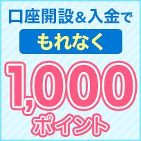 口座開設&1,000円以上の入金でもれなく1,000ポイント